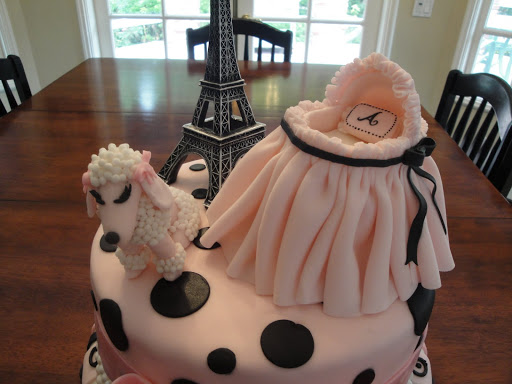 pink paris themed baby shower cake