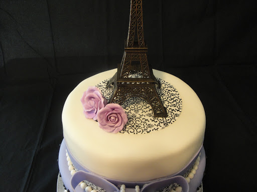 lavender paris themed baby shower cake